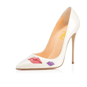 4 Inch Heels White Pink Lips Low-cut Upper Stiletto Heels Pumps