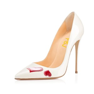 FSJ White Office Heels Patent Leather Pointy Toe Dressy Heart Pumps