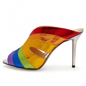 Rainbow Peep Toe Mule Heels Stiletto Heels Sandals