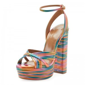 Rainbow Platform Ankle Strap Sandals Chunky Heel Sandals