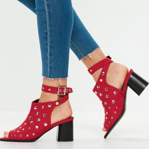 Red Studs Ankle Strap Block Heel Slingback Summer Boots