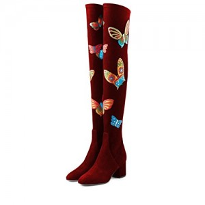 Burgundy Long Boots Butterflies Print Over-the-Knee Suede Chunky Heels