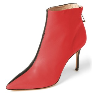 Red and Black Contrast Stiletto Heel Ankle Booties