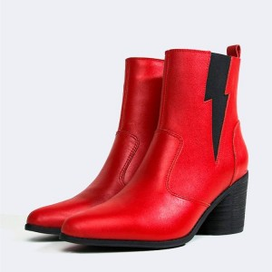 Red and Black Lightning Block Heel Ankle Booties
