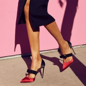 Red and Black Satin Pointed Toe Stiletto Heels Mary Jane Pumps
