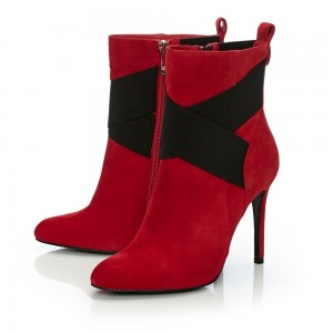 Red and Black Cross Fashion Boots Stiletto Heels Suede Ankle Boots