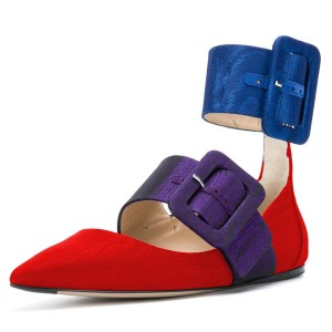 Red and Blue Purple Buckles Ankle Strap Comfortable Flats