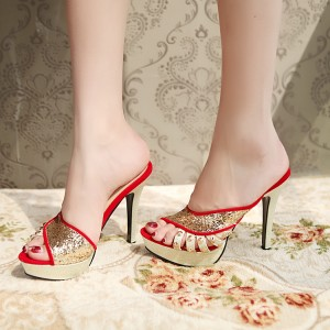 Red and Gold Glitter Shoes Open Toe Mules Sandals with Platform