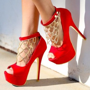 Red and Gold Peep Toe Heels Ankle Strap Platform Pumps with Gold Chains
