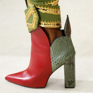 Red and Green Fashion Boots Python Pointy Toe Chunky Heels
