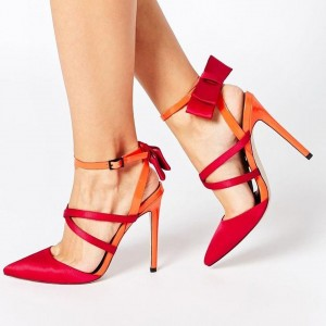 Red and Orange Pointy Toe Stiletto Heels Bow Slingback Pumps