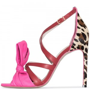 Red and Pink Tie Leopard Print Stiletto Heels Sandals