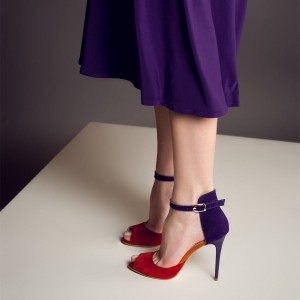 Red and Purple Peep Toe Stiletto Heels Ankle Strap Heels for Women