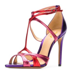 Red and Purple Stiletto Heel Strappy Sandals