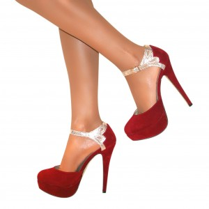 Red Platform Heels Suede Stiletto Heel Pumps High Heel Shoes
