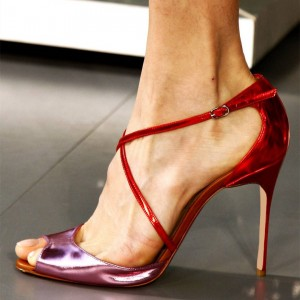 Red and Violet Cross Over Stiletto Heels Sandals