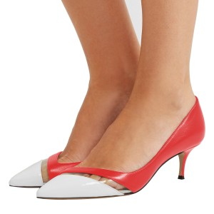 Red and White Clear Stripe Kitten Heels Pumps