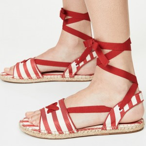 Red and White Flat Strappy Sandals