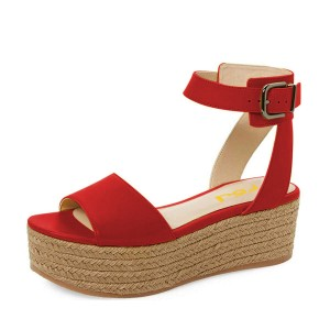FSJ Red Platform Sandals Open Toe Ankle Strap Shoes US Size 3-15