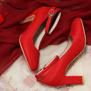 Red Ankle Strap Heels Round Toe Chunky Heel Pumps for Women