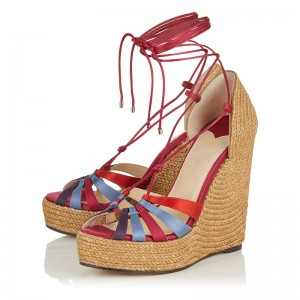 Red Ankle Strap Platform Wedge Heels Sandals