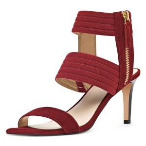 Maroon Ankle Strap Stiletto Heel Sandals for Women