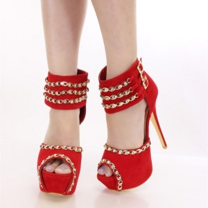 Red Ankle Wrapped Rhinestones Peep Toe Platform Heels Pumps