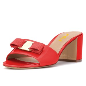Red Block Heel Sandals Open Toe Mule with Bow