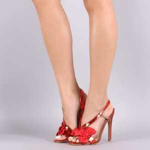 Red Bow Side Chain Stiletto Heel Slingback 4 Inch Heel Sandals
