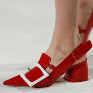 Red Buckle Chunky Heels Patent Leather Pointy Toe Slingback Pumps