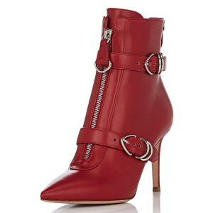 Red Buckles Pointy Toe Stiletto boots