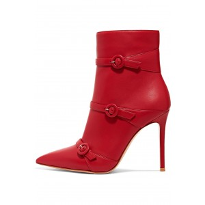 Red Buckle Boots Pointy Toe Stiletto Heel Ankle Booties