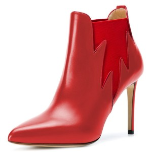 Red Chelsea Boots Stiletto Heel Fashion Ankle Boots