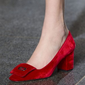 Red Chunky Heels Pumps for Women