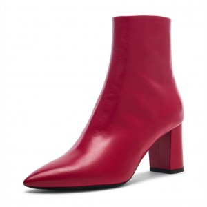 Red Classic Chunky Heels Pointy Toe Ankle Booties