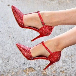 Red Classic T Strap Heels Rhinestone Pointy Toe Stiletto Heel Pumps