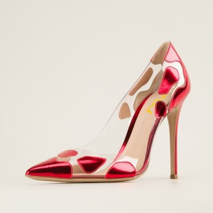 Red Clear Heels Stiletto Heels Summer Pumps High Heels for Women