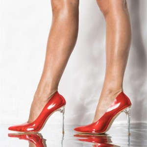Red Clear Heels Pointy Toe Perspex Stiletto Heels Sexy Pumps