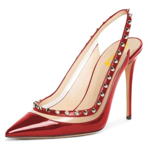 Red Clear PVC Rivets Stiletto Heel Slingback Pumps