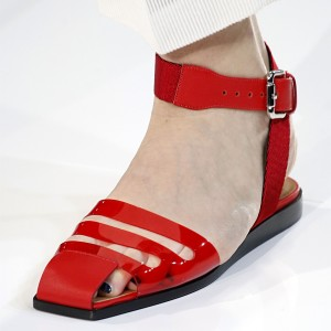 Red Clear Summer Sandals Square Toe Flats Clear Shoes