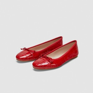 Red Comfortable Flats Round Toe School Shoes with Bow