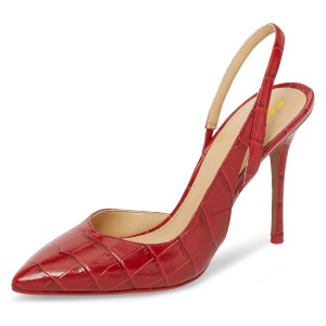 Red Bamboo Grain Pointy Toe Stiletto Heel Slingback Pumps
