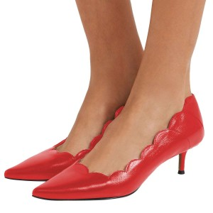 Red Curvy Kitten Heels Pumps