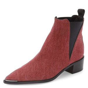 Red Denim Chelsea Boots Pointy Toe Slip-on Chunky Heel Ankle Boots