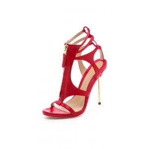 Women's Coral Red Stiletto Heels Dress Shoes Caged Gold Heels Sandals