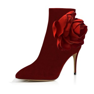 Red Fashion Boots Suede Stiletto Heel Flower Booties