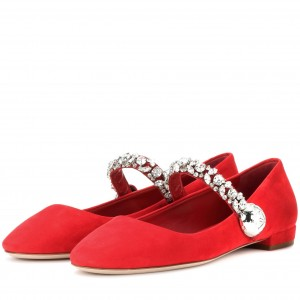 Red Flat Rhinestones Mary Jane Shoes