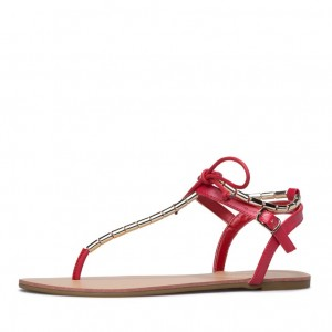 Red Flip-Flops Comfortable Flats Beach Sandals with Metal