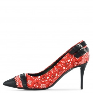 Red Floral Heels Pointy Toe Buckles Stiletto Heel Pumps