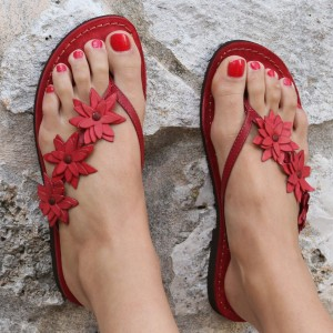 Red Flower Beach Sandals Open Toe Flats Summer Sandals